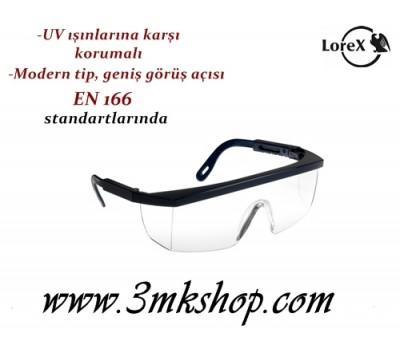 Lorex LR-2131 Klasik İş Gözlüğü  / Şeffaf Koruyucu Gözlük